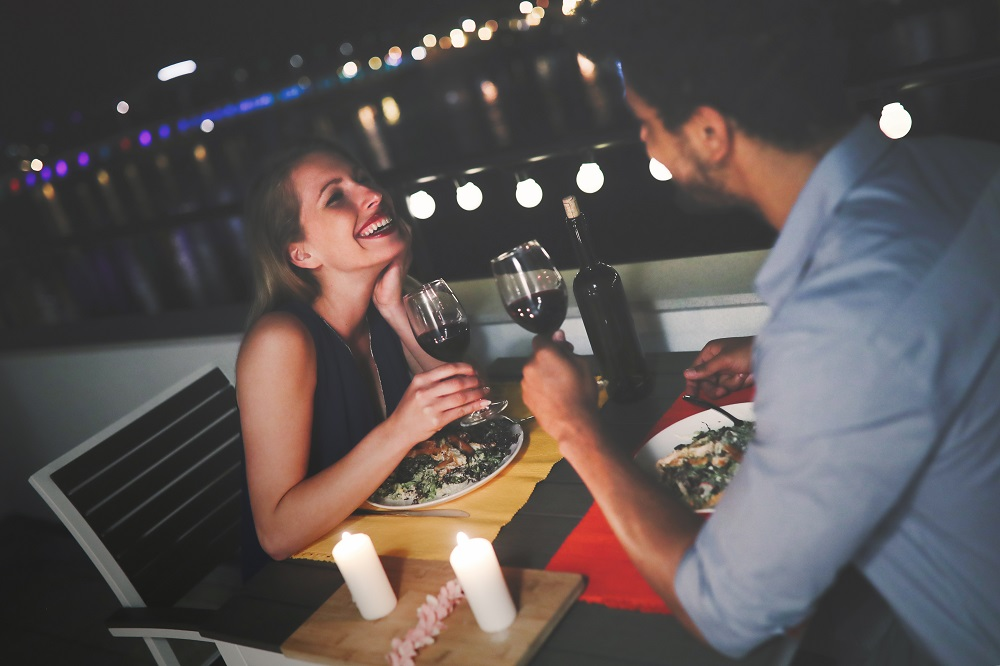 Couples having an intimate dinner date