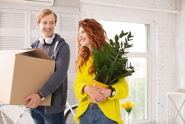 Happy couple moving on their new homes